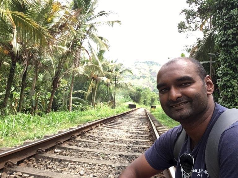Even op de foto met het treinrails.
